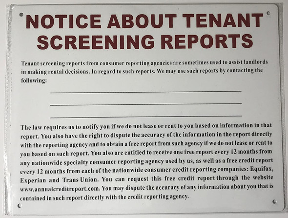 NOTICE ABOUT TENANT SCREENING REPORTS