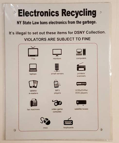 NYC Electronics Recycling dob Sign