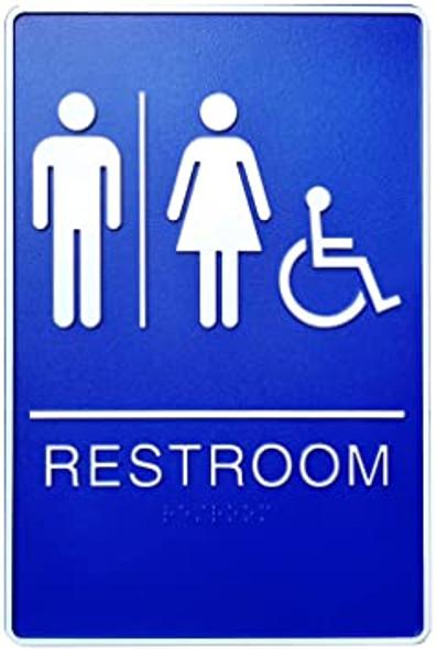 ADA Unisex Bathroom Restroom Sign-Tactile Signs  The deep Blue ADA line Ada sign
