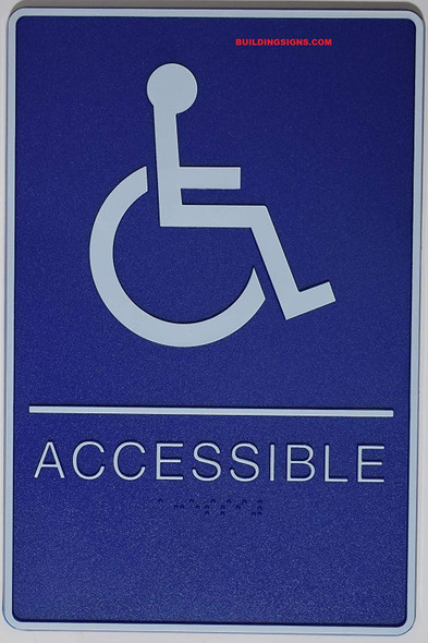 "ADA-Braille Tactile Sign, Legend""(Handicapped) ACCESSIBLE"" with Wheelchair/Handicapped Graphic Sign - The deep Blue ADA-line Ada sign"