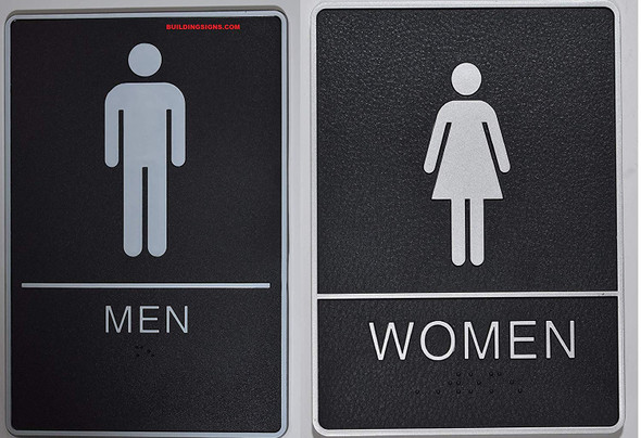 ADA Men & Women Restroom Sign with Tactile Graphic - Tactile Signs  The Standard ADA line Ada sign