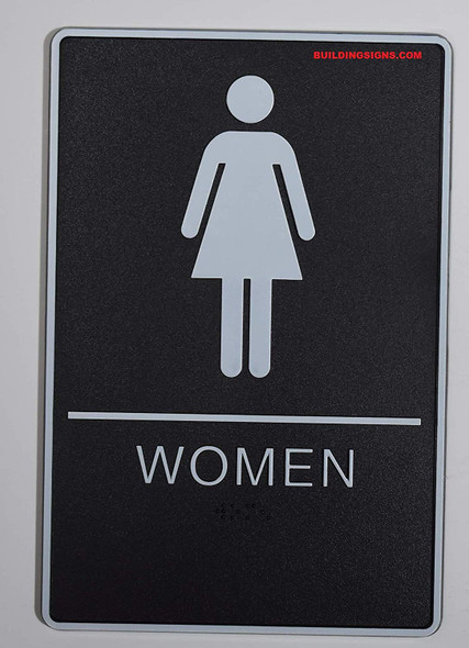 ADA Men & Women Restroom Sign with Tactile Graphic - Tactile Signs  The Standard ADA line  Braille sign