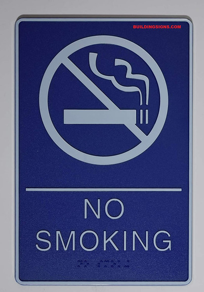 ADA NO Smoking Sign with Braille and Double Sided Tap (Blue,6x9 Comes with Double Sided Tape)-Tactile Signs  The deep Blue ada line