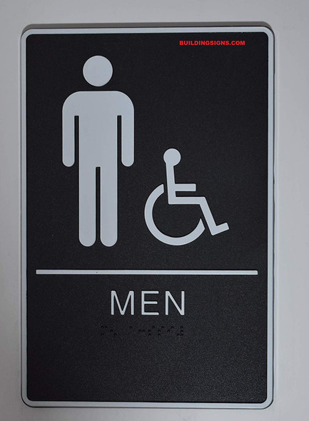 ADA Men Accessible Restroom Sign with Braille and Double Sided Tap -Tactile Signs  The Standard ADA line  Braille sign