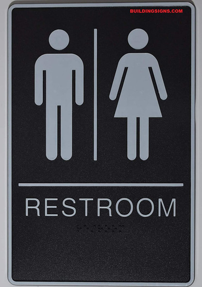 ADA Unisex Bathroom Restroom Sign(Black,6x9 Comes with Double Sided Tape)-Tactile Signs  The Standard ADA line