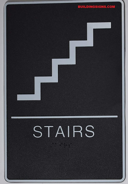 ADA Braille Stair Sign (Black, Comes with Double Sided Tape)- The Standard ADA line