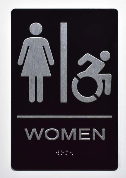 ADA women Accessible Restroom Sign.