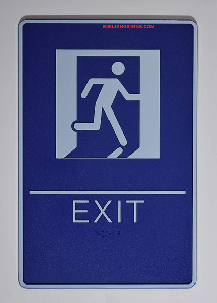 ADA EXIT Sign with Tactile Graphic (exit,6x9 Comes with Double Sided Tape)-Tactile Signs  The deep Blue ADA line