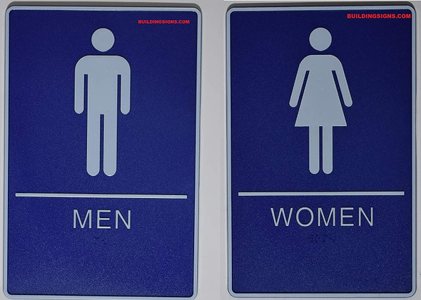 ADA Men & Women Restroom Sign with Tactile Graphic -Tactile Signs  The deep Blue ADA line Ada sign