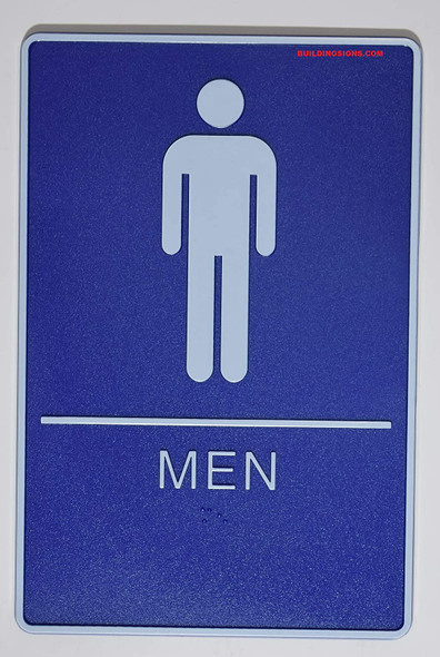 ADA Men & Women Restroom Sign with Tactile Graphic -Tactile Signs  The deep Blue ADA line  Braille sign
