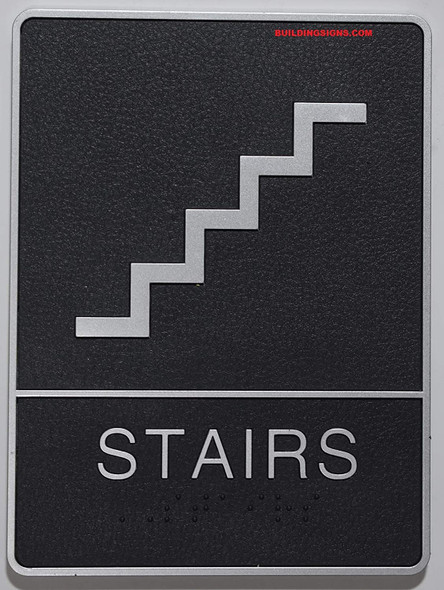 ADA Braille Stair Sign -Tactile Signs  The Leather Sheffield ADA line Ada sign