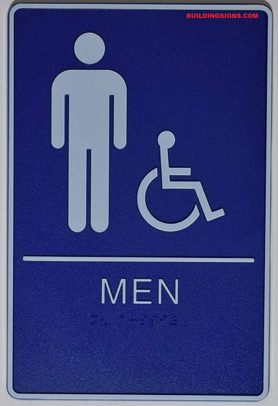 ADA Men Accessible Restroom Sign with Braille and Double Sided Tap -Tactile Signs  The deep Blue ADA line  Braille sign