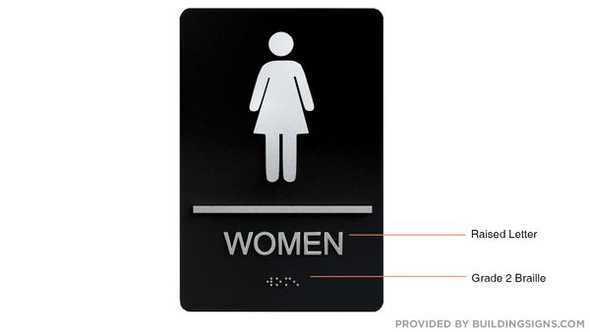ADA Women Accessible Restroom Sign with Braille and Double Sided Tap -Tactile Signs  The Leather Sheffield ADA line  Braille sign