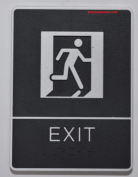 ADA EXIT Sign with Tactile Graphic -Tactile Signs  The Leather Sheffield ADA line  Braille sign