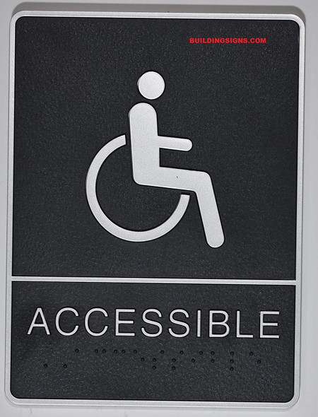 ADA Wheelchair Accessible  Sign with Tactile Graphic -Tactile Signs  The Leather Sheffield ADA line  Braille sign