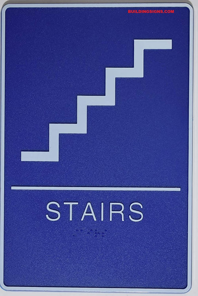 ADA Braille Stair Sign -Tactile Signs  The deep Blue ADA line  Braille sign