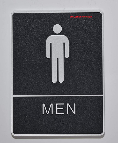 ADA Men Restroom Sign with Braille and Double Sided Tap -Tactile Signs  The Leather Sheffield ADA line  Braille sign