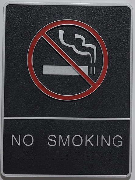 ADA NO Smoking Sign with Braille and Double Sided Tap -Tactile Signs  The Leather Sheffield ADA line Ada sign