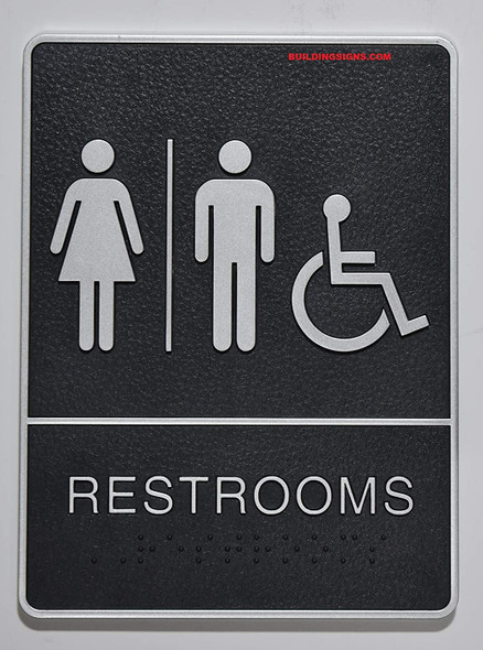ADA Wheelchair Accessible Restroom Sign with Tactile Graphic -Tactile Signs  The Leather Sheffield line  Braille sign