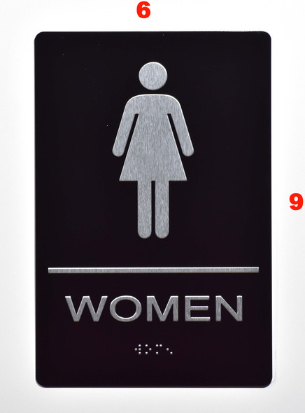ADA Women Restroom Sign with Braille and Double Sided Tap -Tactile Signs  The Leather Sheffield ADA line  Braille sign