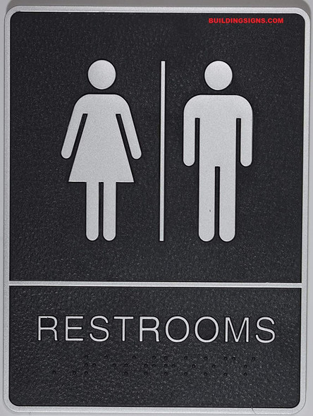 ADA Restroom Sign with Tactile Graphic (Black,6x9 Comes with Double Sided Tape)-Tactile Signs  The Leather Sheffield line