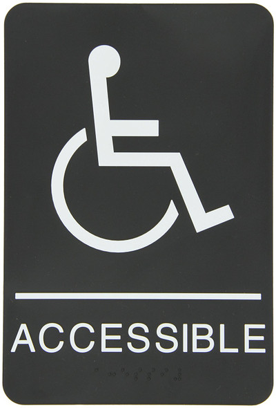 "ADA-Braille Tactile Sign, Legend""(Handicapped) ACCESSIBLE"" with Wheelchair/Handicapped Graphic Sign - The Standard ADA-line Ada sign"