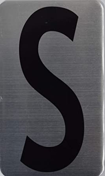 House Number Letter Sign/Apartment Number Letter Sign- Letter S (Silver, Size 3x5) -The Hippo LINE