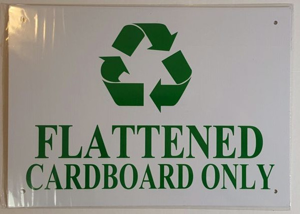 FLATTENED CARDBOARD ONLY SIGN  WHITE ALUMINUM