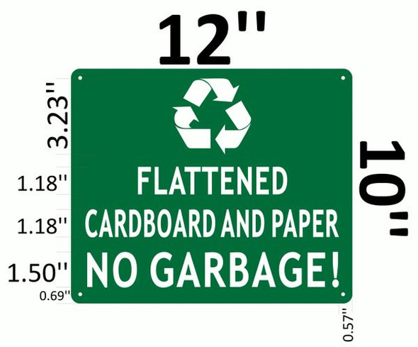 FLATTENED CARDBOARD AND PAPER NO GARBAGE SIGNAGE