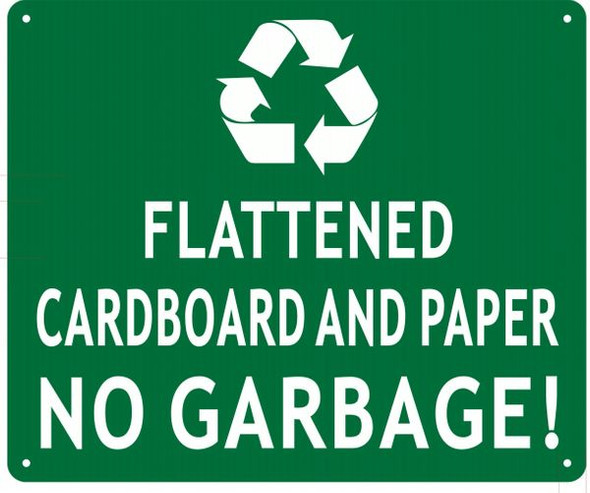 FLATTENED CARDBOARD AND PAPER NO GARBAGE SIGN for Building