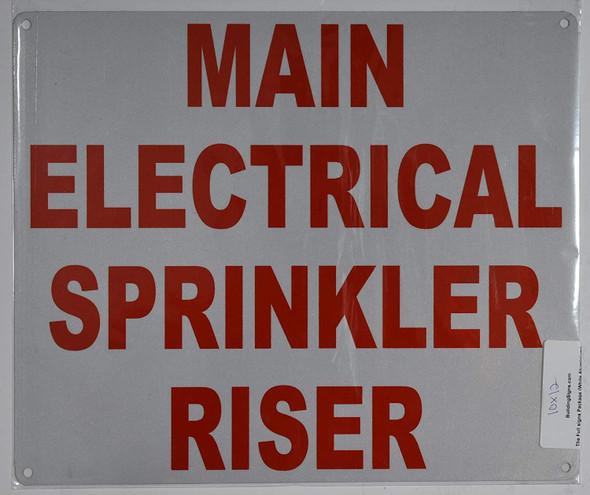 Main Electrical Sprinkler Riser Sign(White, Reflective