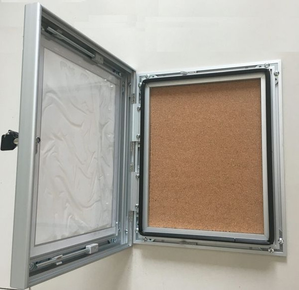 Bulletin Board with lock / key , -Silver Aluminum ( Heavy Duty)