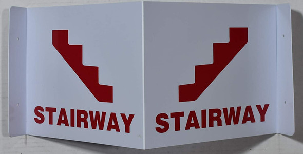 Stairway 3D Projection Sign/Stairway Hallway Sign (White/red,Plastic)-Les Deux cotes line
