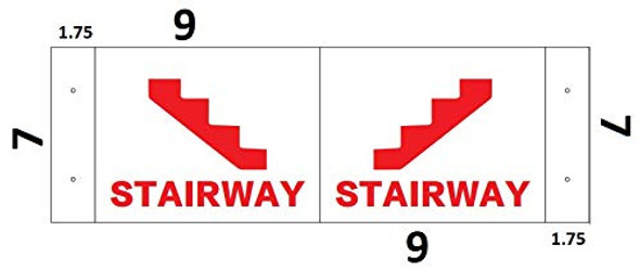 Stairway 3D Projection SIGNAGE/Stairway Hallway SIGNAGE (White/red,Plastic)-Les Deux cotes line
