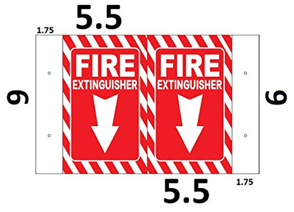 FIRE Extinguisher Symbol 3D Projection Sign/FIRE Extinguisher Symbol Hallway Sign -(White/RED,Plastic,5.5x9)-Les Deux cotes line