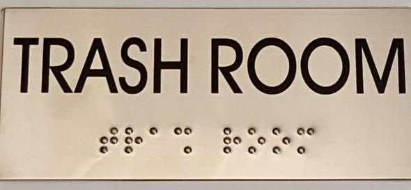 TRASH ROOM Sign -Tactile Signs   Ada sign