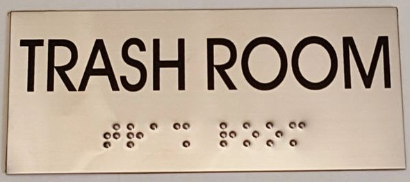 TRASH ROOM Sign -Tactile Signs    Braille sign