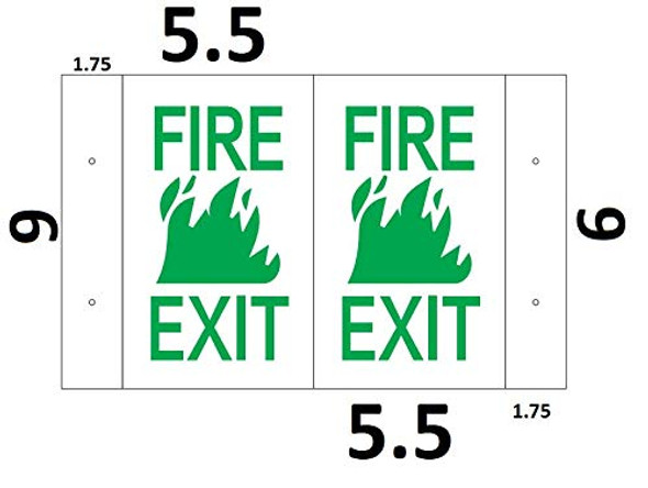 FIRE EXIT 3D Projection Sign/FIRE EXIT Sign (White/RED,Plastic,5.5x9)-Les Deux cotes line