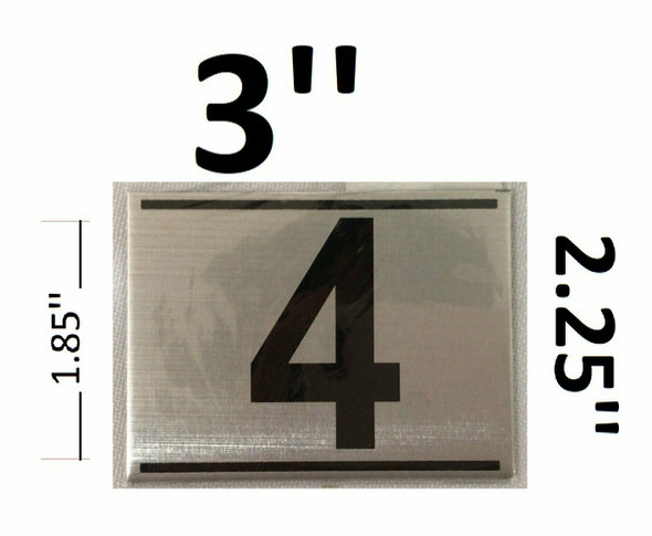 APARTMENT NUMBER FOUR (4) SIGN - -BRUSHED ALUMINUM (2.25X3)