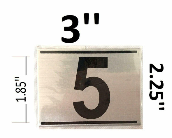 APARTMENT NUMBER FIVE (5) SIGN - -BRUSHED ALUMINUM (2.25X3)