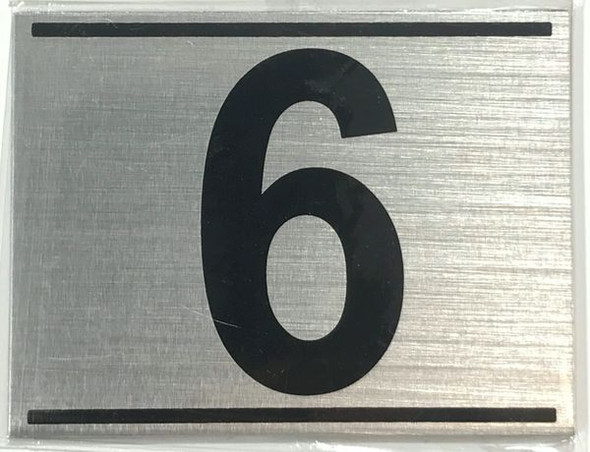 APARTMENT NUMBER SIX (6) SIGN - -BRUSHED ALUMINUM