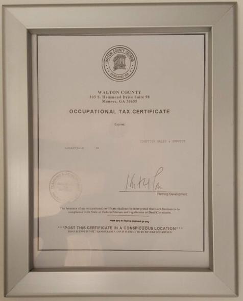 GA Tax Certificate frame
