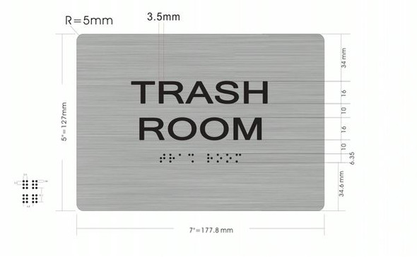 TRASH ROOM Sign  Braille sign -Tactile Signs  The sensation line  Braille sign