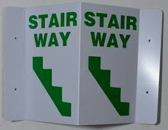 Stairway 3D Projection Sign/Stairway Hallway Sign (White/Green,Plastic)-Les Deux cotes line