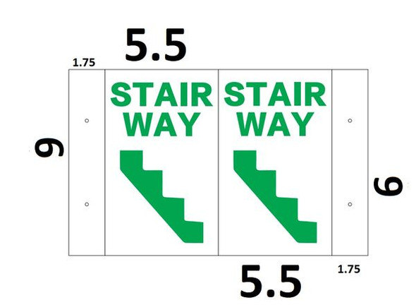 Stairway 3D Projection SIGNAGE/Stairway Hallway SIGNAGE (White/Green,Plastic)-Les Deux cotes line