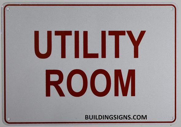 Utility Room Sign- Reflective !!! (White,Aluminum )