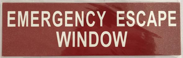 EMERGENCY ESCAPE WINDOW SIGN - RED ALUMINIUM HEAVY DUTY (3X10)