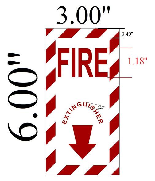 Fire Extinguisher Sign - (Duble Sided Tape, Aluminum 3x6)
