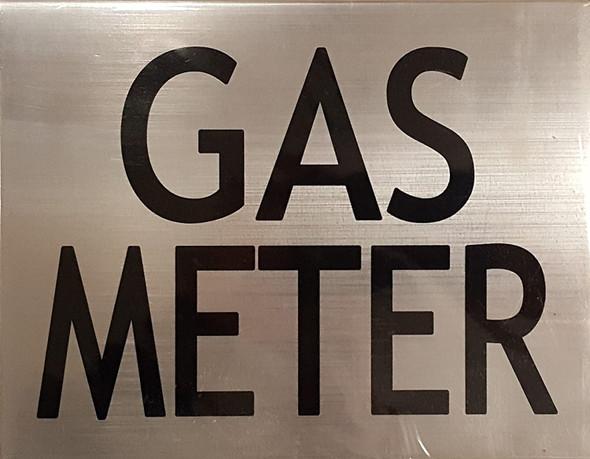 GAS METER SIGNAGE (BRUSHED ALUMINUM )