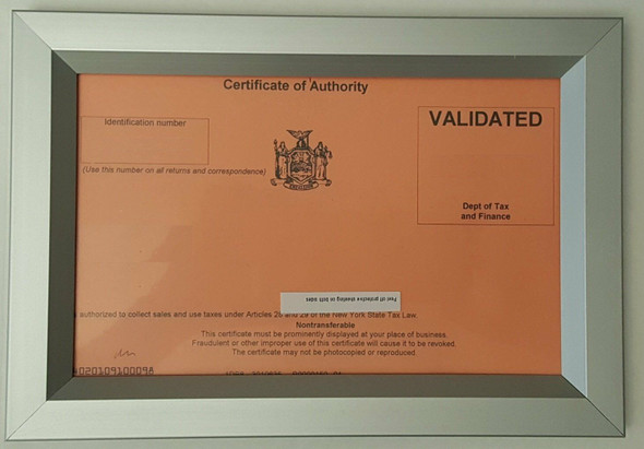 Sale Tax Certificate NYC Frame